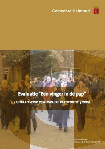 """Evaluatie """"Een vinger in de pap"""" - Gemeente Helmond"""