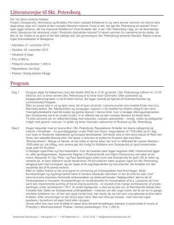 Litteraturrejse til Skt. Petersborg Program - Akademisk Rejsebureau