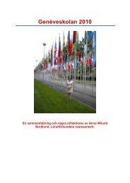 Rapport från Genèveskolan 2010 - Lärarförbundet