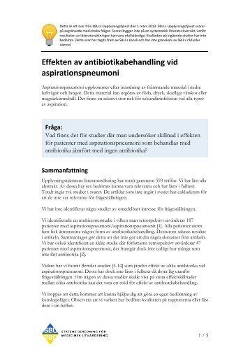 Effekten av antibiotikabehandling vid aspirationspneumoni - SBU
