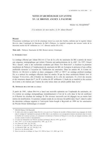 notes d'archéologie levantine xv. le bronze ancien à palmyre