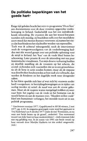 De politieke beperkingen van het goede hart - Emancipatie.nl