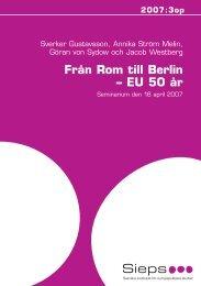 Från Rom till Berlin – EU 50 år - Sieps