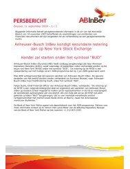 Anheuser-Busch InBev kondigt secundaire notering aan op New ...