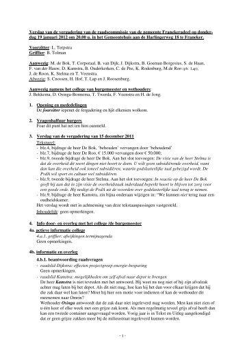 Verslag 19 januari 2012 (pdf) - Gemeente Franekeradeel