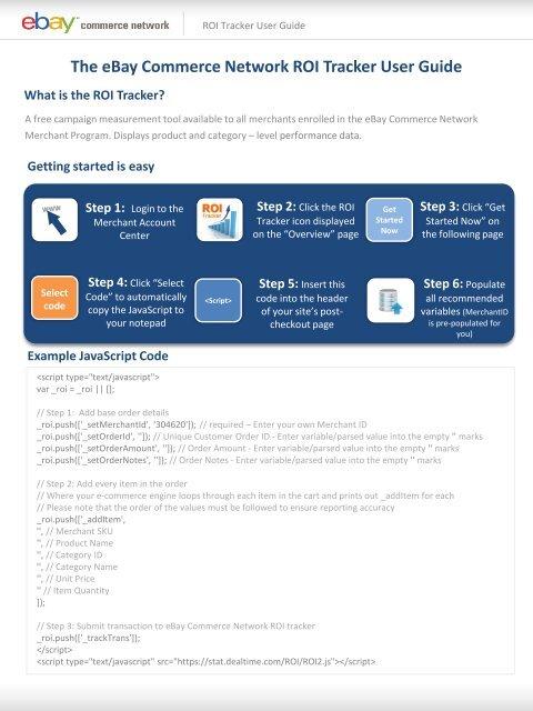 The Ebay Commerce Network Roi Tracker User Guide