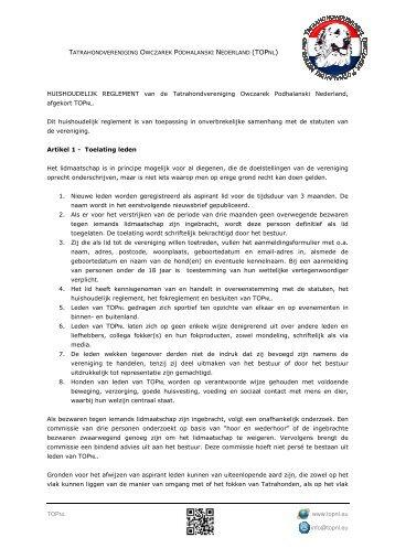 Huishoudelijk reglement - Tatrahondvereniging Owczarek ...