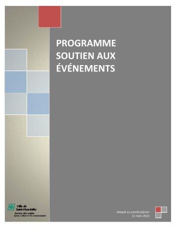 programme soutien aux événements - Ville de Saint-Hyacinthe