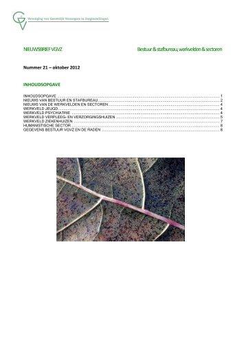 NIEUWSBRIEF VGVZ Bestuur & stafbureau, werkvelden & sectoren