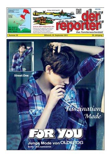 der reporter - Das Familienwochenblatt für Fehmarn 2013 KW 39