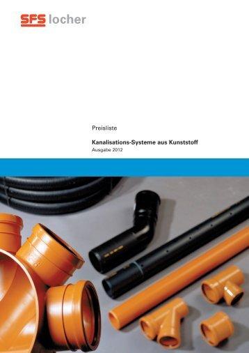Preisliste Kanalisations-Systeme aus Kunststoff