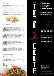 Bordmeny - Økern Sushi