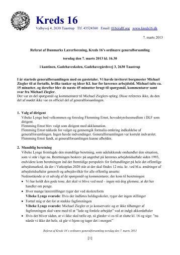 Referat af Kreds 16's ordinære generalforsamling 7. marts 2013