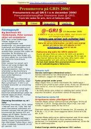 Prenumerera på GRIS 2006! - GrisPortalen