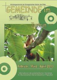 Gemeindebrief Feb - Mrz - Apr 2013 - GerhardDorothea