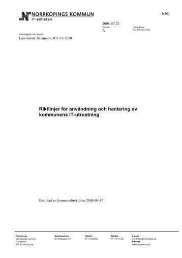 Riktlinjer för användning och hantering av kommunens IT-utrustning