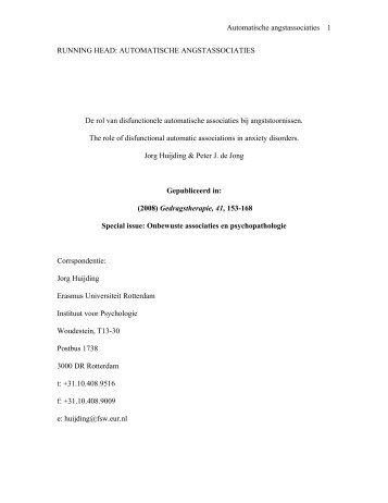 rol van disfunctionele automatische associaties - Bipolair Rapid ...