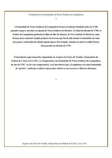 Compromisso da Irmandade de Nossa Senhora da Lampadosa ...
