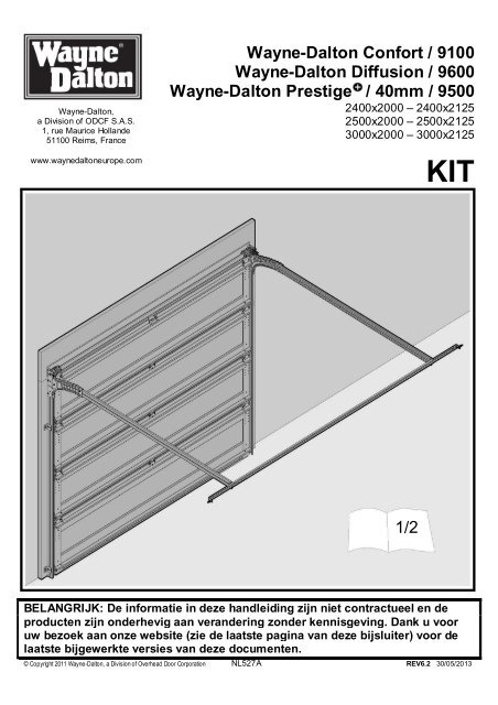 nl527a rev6 2 30 05 2013 notice porte std 1 wayne dalton. Black Bedroom Furniture Sets. Home Design Ideas