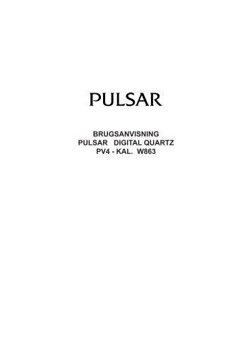 BRUGSANVISNING PULSAR DIGITAL QUARTZ PV4 - KAL. W863