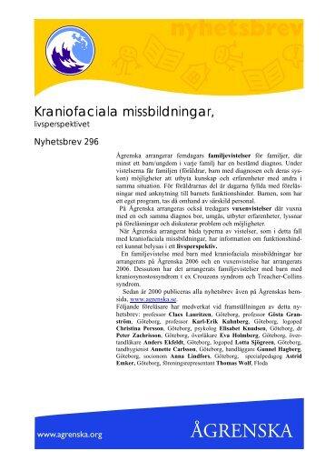 Kraniofaciala missbildningar, livsperspektiv - Ågrenska