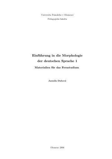 Einführung in die Morphologie der deutschen Sprache 1