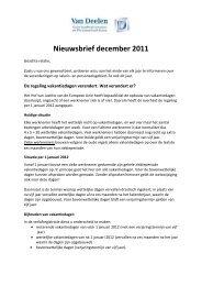 Nieuwsbrief 2011 - december / algemene informatie - Van Deelen