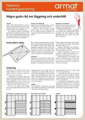 Takpanna monteringsanvisning - Armat
