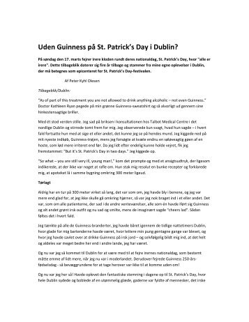 Uden Guinness på St. Patrick's Day i Dublin? - Home of Peter Kyhl ...
