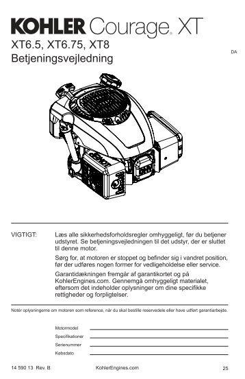 XT6.5, XT6.75, XT8 Betjeningsvejledning - Kohler Engines