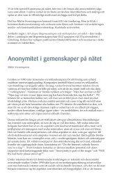 Anonymitet i gemenskaper på nätet