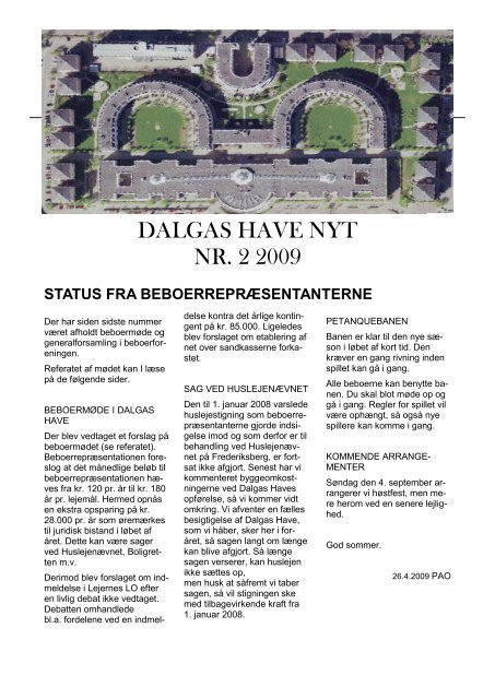 Dalgas Have Nyt Nr 2 2009 Beboerforeningen Dalgas Have