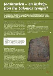 Joashtavlen – en inskrip- tion fra Salomos tempel?