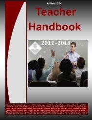 Aldine I.S.D. Teacher Handbook - Aldine Independent School District