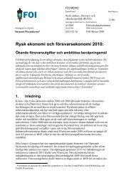 Rysk ekonomi och försvarsekonomi 2010 - FOI