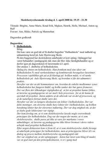 20080401 Referat til skolebestyrelsesmøde - Skoleporten Aale ...