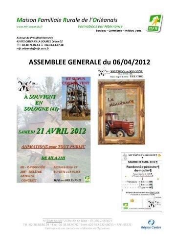 ASSEMBLEE GENERALE du 06/04/2012 - mfr de l'orleanais