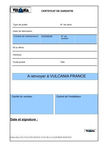 A renvoyer à VULCANIA FRANCE