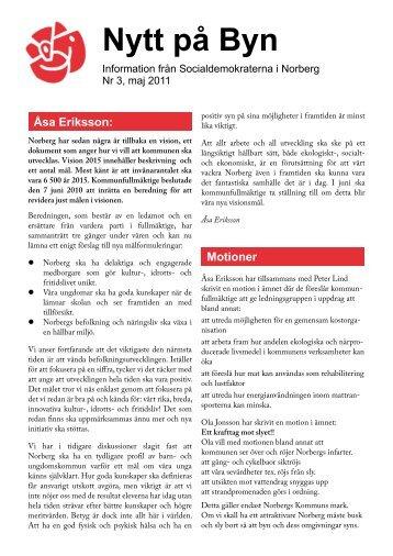 Nytt på Byn nr 3 2011 - Socialdemokraterna