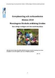 Grovplanering och verksamheten Hösten 2010 Mossängens ...