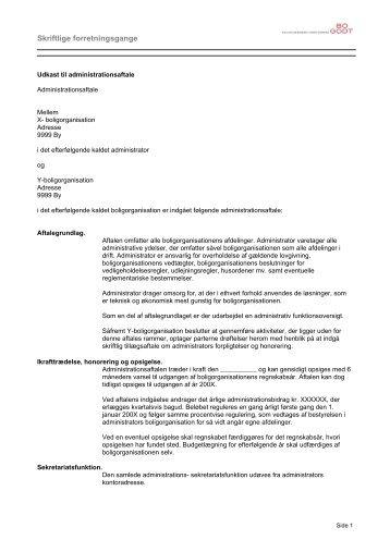 Udkast til administrationsaftale - Boligselskabernes Landsforening