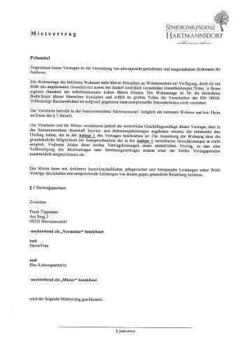 muster mietvertrag seniorenresidenz hartmannsdorf - Wohnraummietvertrag Muster