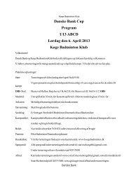 Danske Bank Cup Program U13 ABCD Lørdag den 6. April 2013 ...