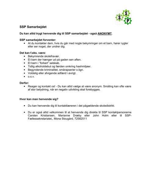 SSP Samarbejdet - Lemvig Kommune