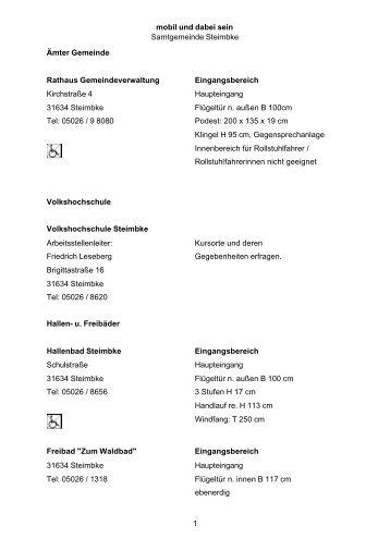 Samtgemeinde Steimbke - Behindertenwegweiser Nienburg