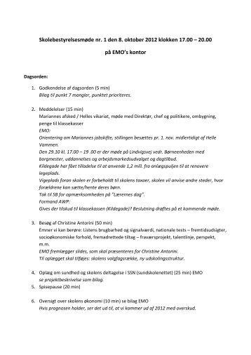 1. SB møde 08.10.12 - Horsens Byskole