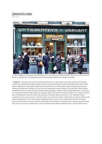 Ghent in Five Tastes - Visit Gent