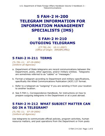 5 fah-2 h-200 telegram information for information management ...