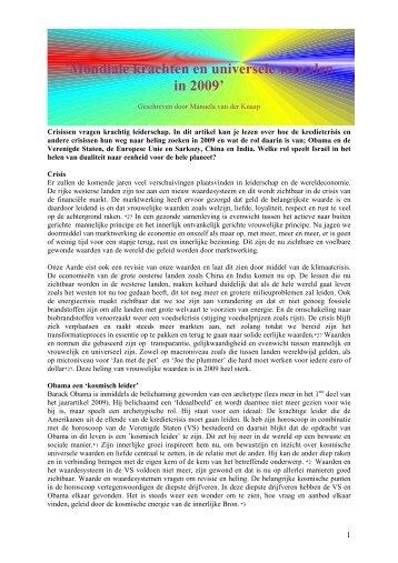 'Mondiale krachten en universele waarden in 2009' - PAN-Holland