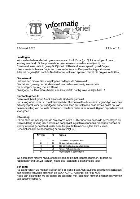 9 Februari 2012 Infobrief 12 Leerlingen Wij Moeten Helaas